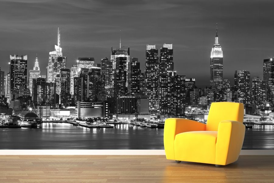 Yeni sezon ehir temal duvar ka d g rselleri dekor for Black and white new york mural wallpaper